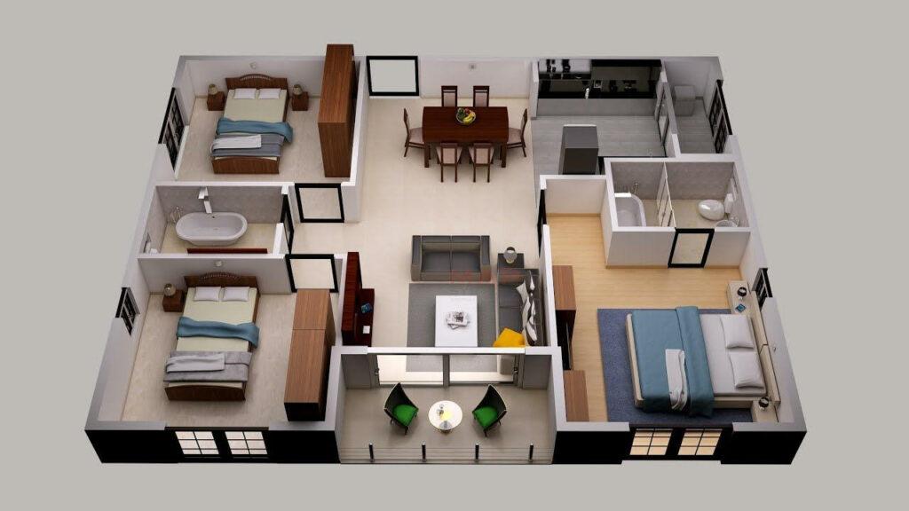 แบบบ้าน 3 ห้องนอน